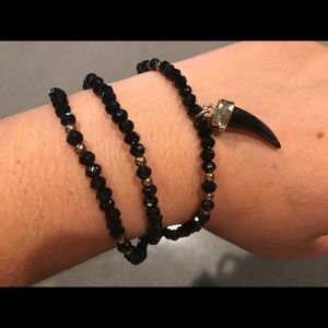 Jewelry - Black and gold beaded layer bracelet